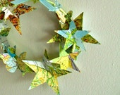 Starry Sky Paper Wreath - hanging ornament , vintage atlas, travel