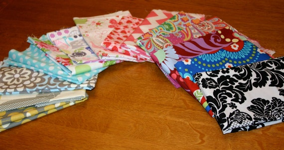 Sale 25% Off  - Large Scrap Pack - Michael Miller, Amy Butler Riley Blake and Tanya Whalen Fabrics