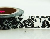 Shabby Chic orchid Washi Masking Tape Roll Adhesive Stickers Black and white WT45