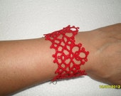 Handmade tatted bracelet in red