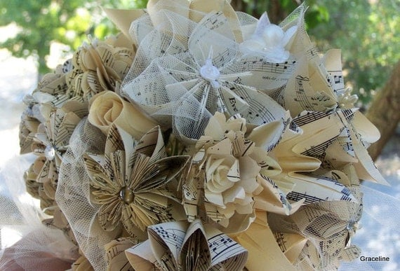 Paper Flower Bridal Bouquet Handmade Customized With Book Pages, Map Flowers or Sheet Music Bouquet
