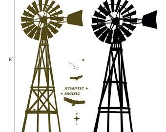 USA : WALL DECAL - Far West - Giant Old Windmill, as if in wood. Like in Western Movies. John Wayne style. Nursery, kid.