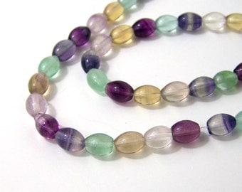 Rainbow Fluorite beads, 8mm x 6mm oval natural gemstone bead, full & half strands available  (504S)