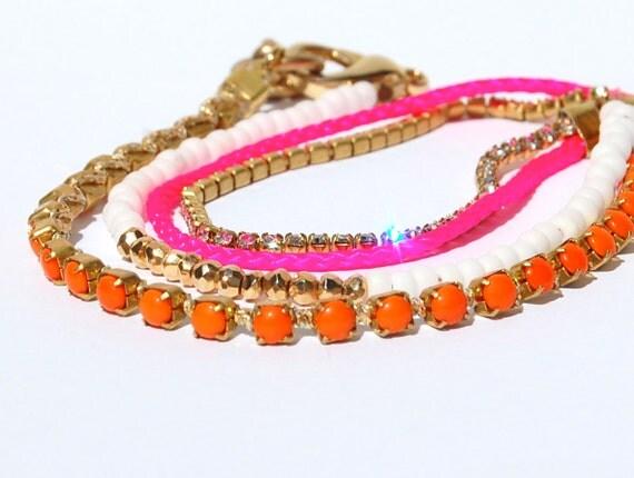 Neon Pink Wrap Bracelet Hot Pink and Orange Finest Rhinestone Chain Bracelet.