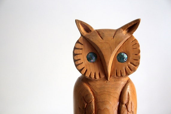 Vintage Owl - Hand Carved Wood Circa 1978