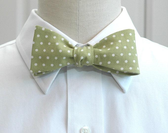 Men's bow tie, celery green white polka dots bow tie, wedding bow tie, sage green bow tie, groom bow tie, groomsmen gift, prom bow tie,