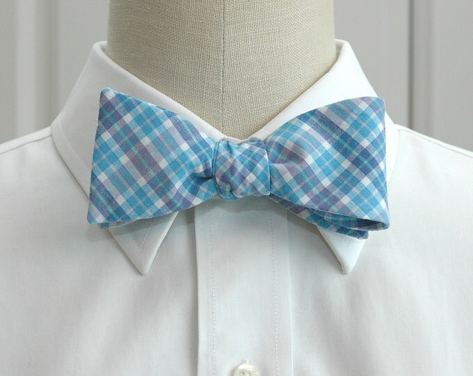 Men's Bow Tie, sky blues plaid, blue & lilac check bow tie, wedding bow tie, groom bow tie, groomsmen gift, Fathers Day bow tie, summer tie