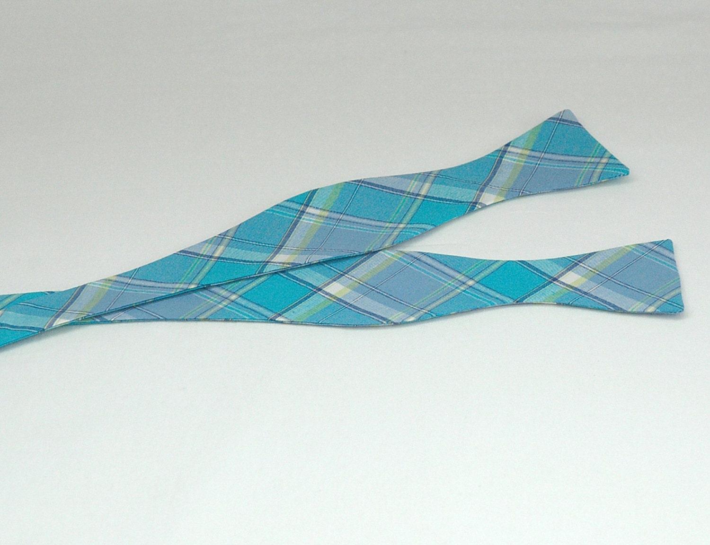 Men 39 s bow tie turquoise and blue plaid bow tie wedding - Plaid bleu turquoise ...