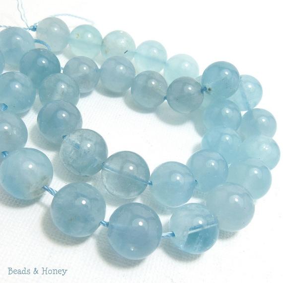 Aquamarine, Blue, Round, Smooth, Natural Gemstone Beads, 10mm, Full Strand, 40pcs - ID 348-2