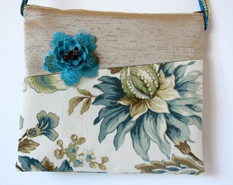 Beads and Turquoise Flowers Messenger Bag