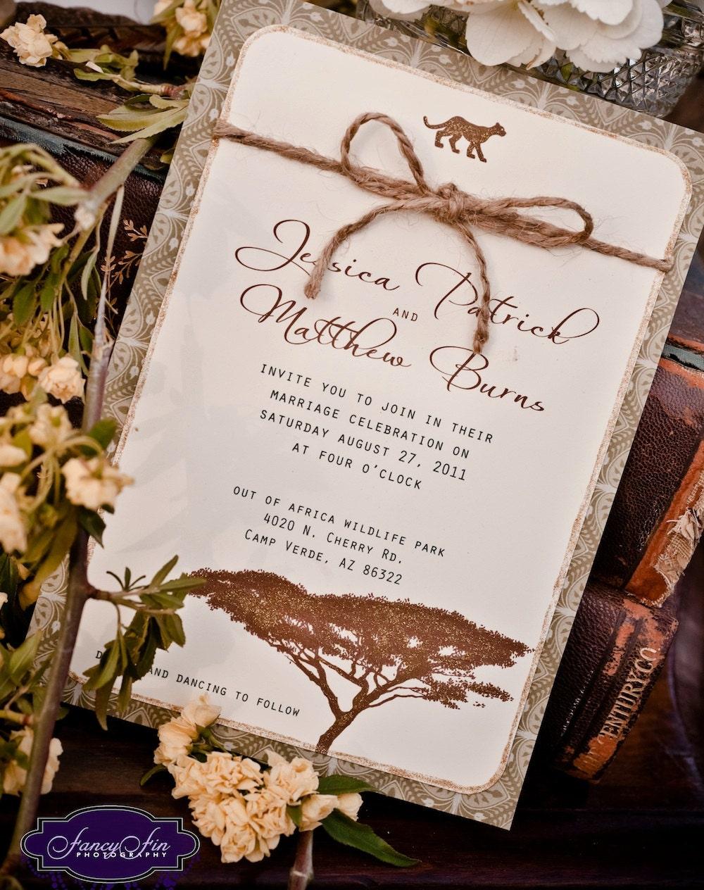 vintage desert safari wedding invitations hand by festivefetti. Black Bedroom Furniture Sets. Home Design Ideas