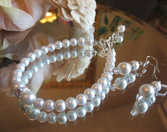 Pearl and Swarovski Rhinestone Bracelet and Earring Jewelry Set - Brides or Bridesmaid Jewelry Set