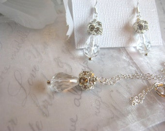 Swarovski Clear Crystal Teardrop and Rhinestone Necklace and Earring Set - Brides or Bridesmaid Jewelry Set/Crystal Wedding Jewelry