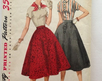 50s Simplicity 1736 Flared Skirt and Kimono Blouse 2 Piece Dress Size 16 Bust 36