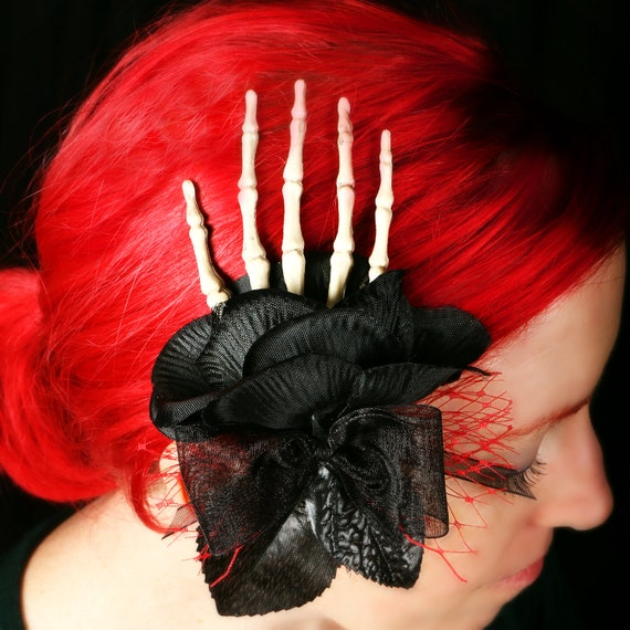 Day Of The Dead Hand Tattoo: Day Of The Dead Skeleton Hand Fascinator Hair Clip