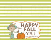 INSTANT Download-Happy Fall Y'All Treat Bag Tags: Child Halloween - Printable PDF