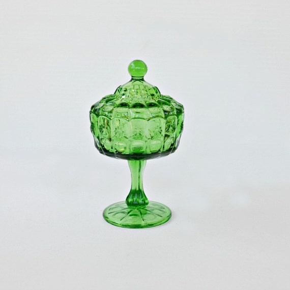 Candy dish green glass vintage ornate