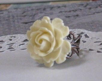 Romantic Ivory Blooming Rose Ring - Antique Brass Adjustable Filigree Band