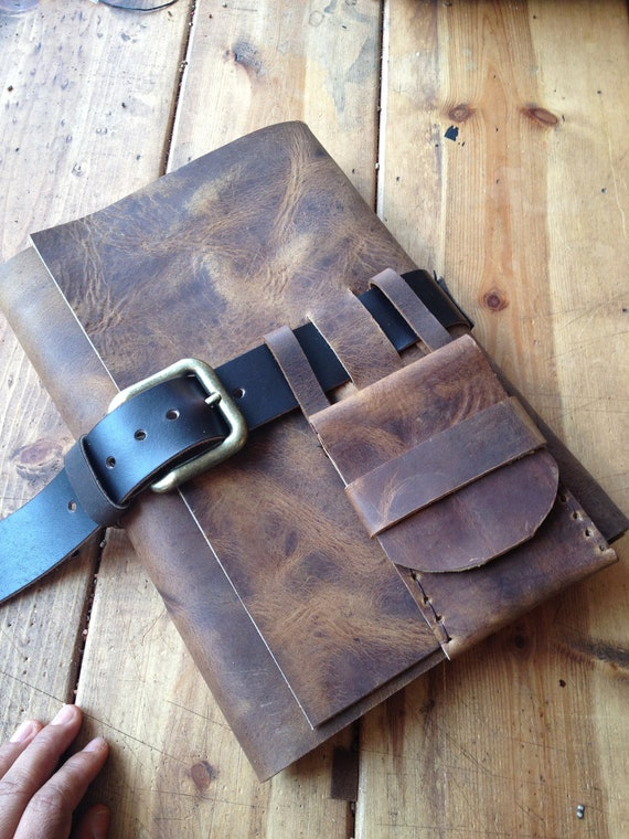Large leather journal Personalized Notebook cover Mens