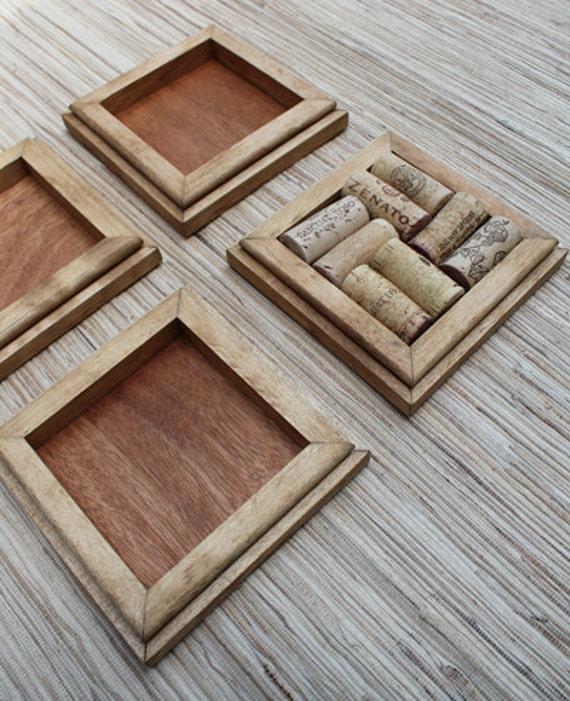 Honey wine cork coasters diy set of 4 on rustic reclaimed for Diy rustic coasters