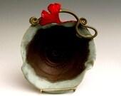 Art Nouveau Red Ginkgo Leave Matte Green Pottery Bowl Wheel Thrown