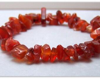 Stretch Bracelet - Gemstone Bracelet - Carnelian Bracelet, Carnelian Chips, Bead Bracelet, Gemstone Jewelry