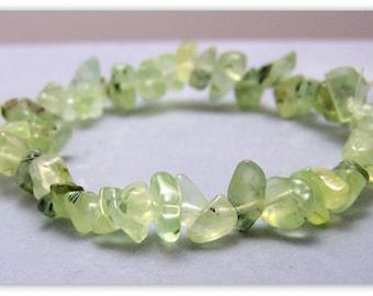 Stretch Bracelet - Gemstone Bracelet - Prehnite Bracelet, Prehnite Chips, Bead Bracelet, Gemstone Jewelry