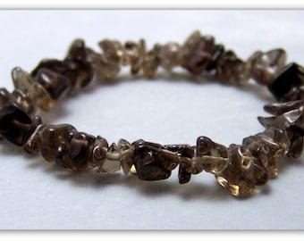 Stretch Bracelet - Gemstone Bracelet - Smoky Quartz Bracelet, Smoky Quartz Chips, Bead Bracelet, Gemstone Jewelry