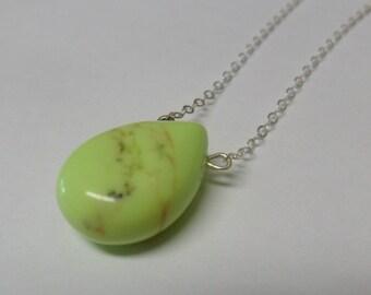 Lovely GREEN JADE Teardrop Flat Gemstone Necklace,Gemstone Necklace,Jade Necklace,Sterling Silver Necklace