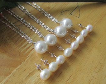 Set of  Four- White Pearl, 925 White Pearl,Stud Earrings Pearl,Silver Necklace,Bridal Gift,Wedding,Was 84.99 Now 70.99