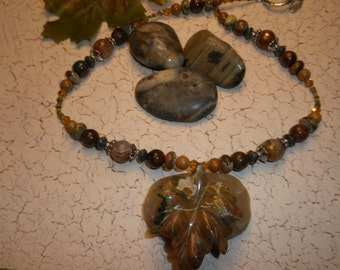 Gorgeous Rhyolite Fall Leaf Pendant Necklace