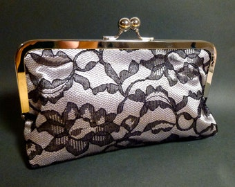 Black Lace Clutch with Overlay on Silver Satin Bridal Holiday Christmas New Year's Clutch Eve