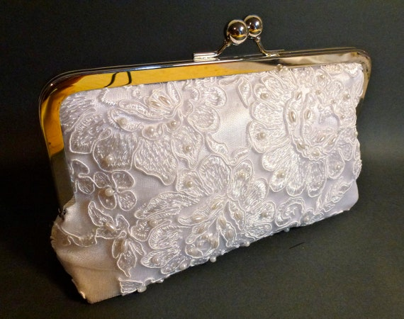 Wedding Bridal Clutch Alencon Lace Cabbage Rose White with Pearls READY TO SHP Sale
