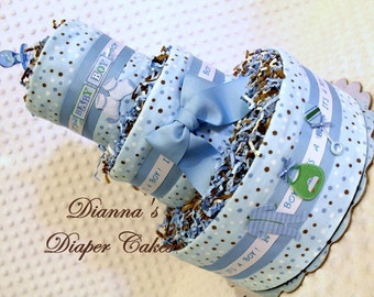 Polka Dots Baby Diaper Cake PINK OR BLUE Shower Gift or Centerpiece