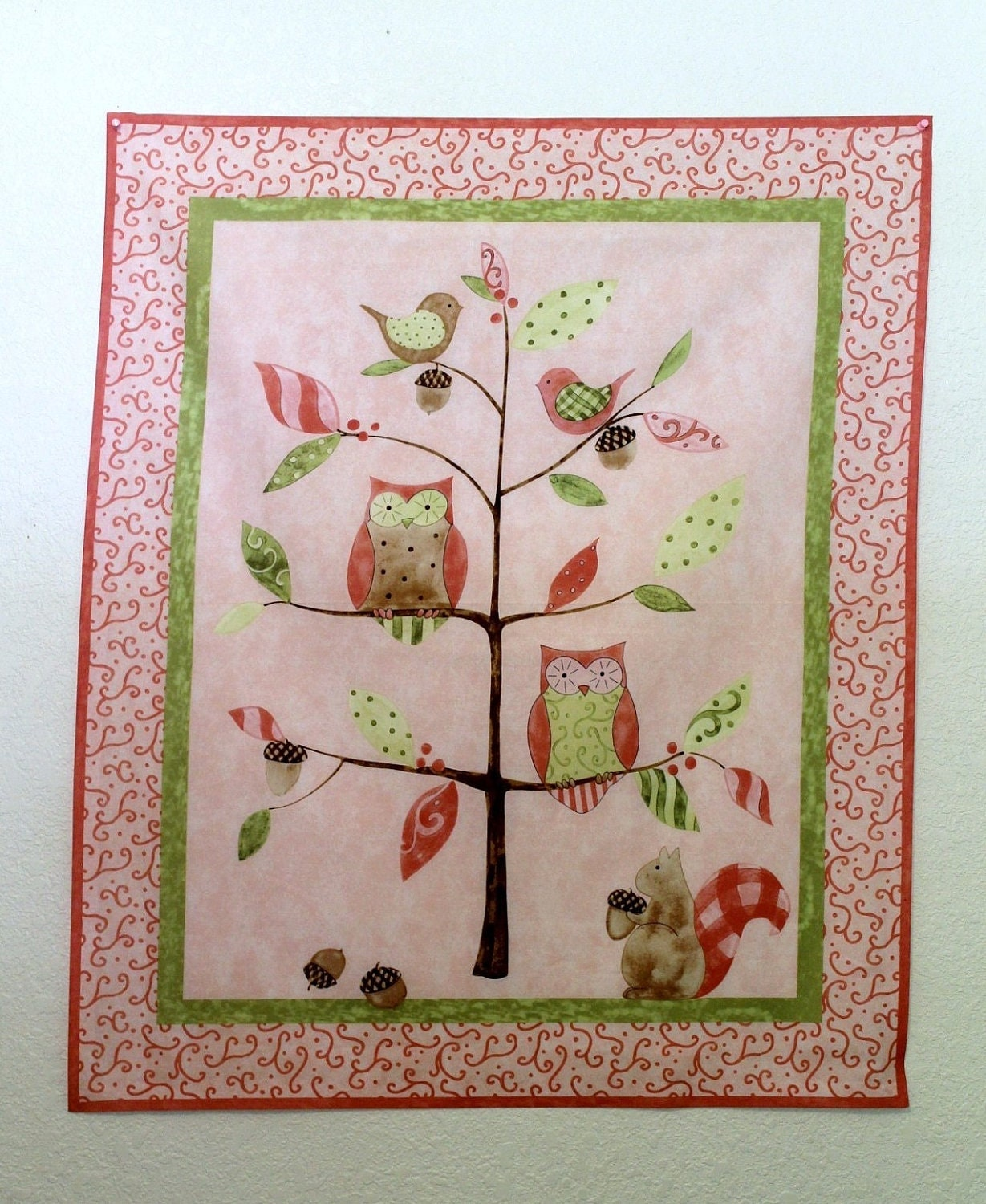 Wall Decor With Fabric : Wall decor pink owls fabric panel baby nursery kids children