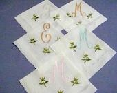 HANKIE ASSORTMENT, Monograms M F E, Sheer Cotton Reverse Scallop Hem, Organdy Rose Buds Embroidered