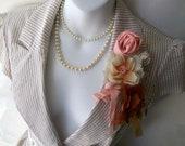 Boho Chic Jacket. Capuccino Cream. Coral. Peach. Terra Cotta.Cottage Chic Romance