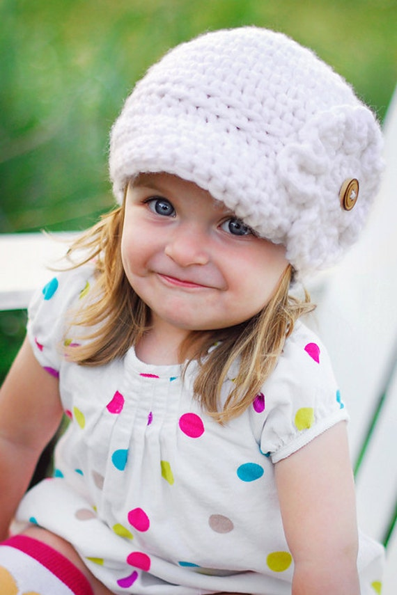 Toddler Girl Newsboy Hat Bright White- Toddler and Girls