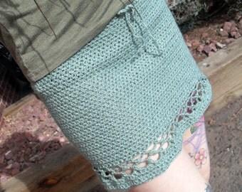 Light Pea Green Crochet Mini Skirt