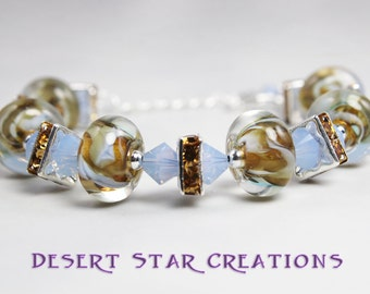 Yellow Gold Blue Opal Boro Glass Bracelet