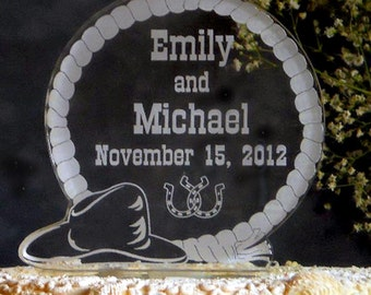 WESTERN  Wedding Cake Topper  - Engraved & Personalized
