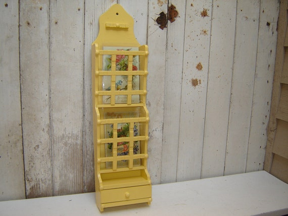 Letter Card Holder Organizer - Painted Golden Yellow Color