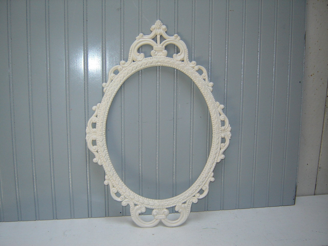 Ornate Oval Frame Large Empty Metal Frame Painted Creamy