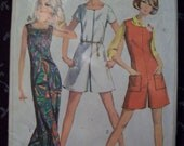 Vintage 1960's Simplicity One-Piece Jump-Suit in Two Lengths Pattern Bust Size 38