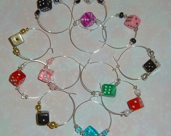 12 Wine Glass Charms - Colorful Dice - Bunco / Bunko Party Gift / Favors! Gamers!