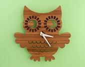 Bamboo Owl Clock: Wood Clock Kids Baby Nursery Children