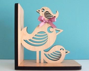 Wood Bird Bookend