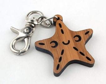 Wood Starfish Purse & Bag Charm: Bamboo Ocean Key Chain Fob