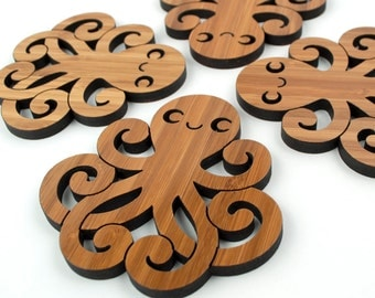 Octopus Coasters: Wood Ocean Nautical Decor  (Set of 4)