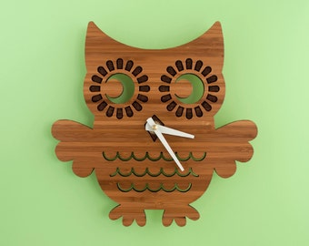 Bamboo Owl Clock: Wood Clock Kids Baby Nursery Children
